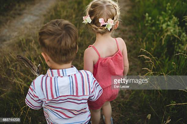 Rear view of young girl and twin brother holding hands in meadow