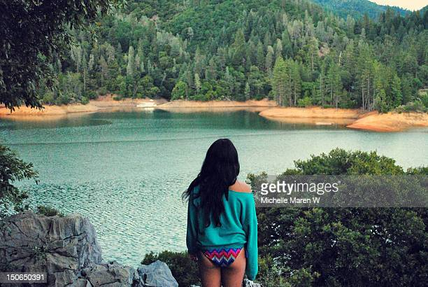 rear view of young girl - mt shasta stock pictures, royalty-free photos & images