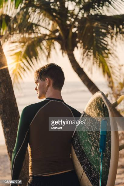 Rear view of young male surfer with surfboard at beach during sunset