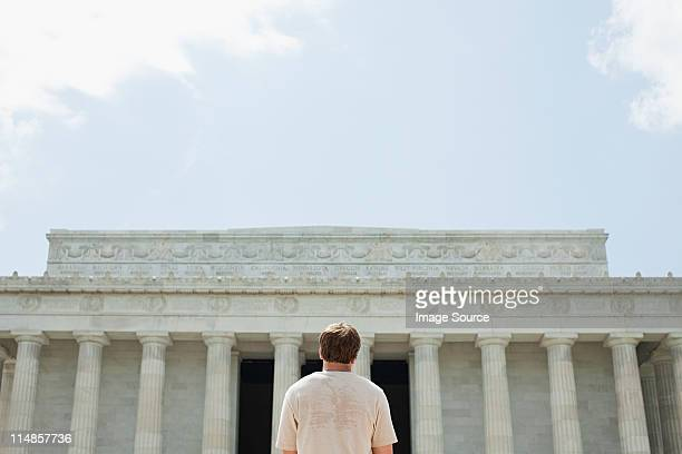 Rear view of young man at lincoln memorial