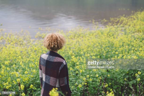 rear view of young woman standing on field - bortes foto e immagini stock