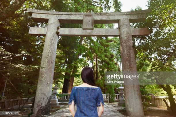 rear view of young woman wearing blue dress standing at shinto sakurai shrine, fukuoka, japan. - shinto shrine stock pictures, royalty-free photos & images