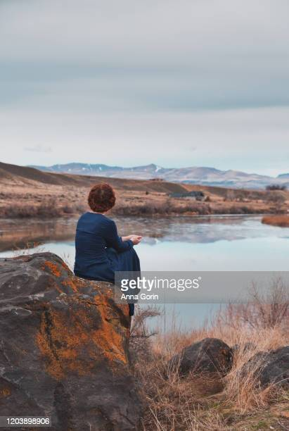 rear view of young woman with braided red hair wearing long-sleeved vintage blue dress sitting on rock overlooking river, overcast skies - long dress stock pictures, royalty-free photos & images