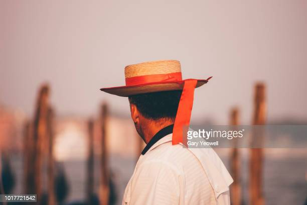 rear view portrait of a gondolero in venice - yeowell stock pictures, royalty-free photos & images