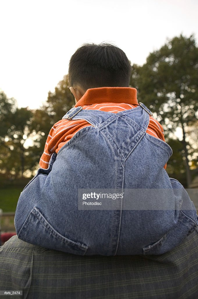 rear view relationship portrait of a child being carried on the shoulders of his father : Foto de stock