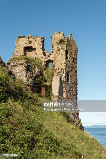 rear wall of dunure castle-ayrshire - stone material stock pictures, royalty-free photos & images
