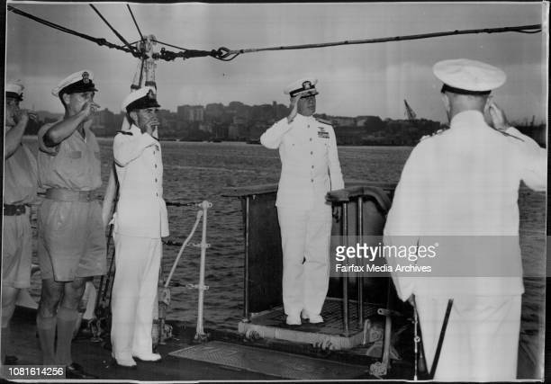RearAdmiral HM Martin USN Commanding the US Navy Task Forte 38 which arrived in Sydney yesterday morning is 'Piped aboard HMAS Australia with full...