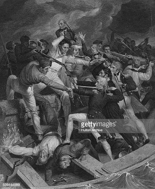 RearAdmiral Horatio Nelson aboard his admiral's barge and accompanied by John Sykes his coxswain and Captain Thomas Fremantle engages in combat with...