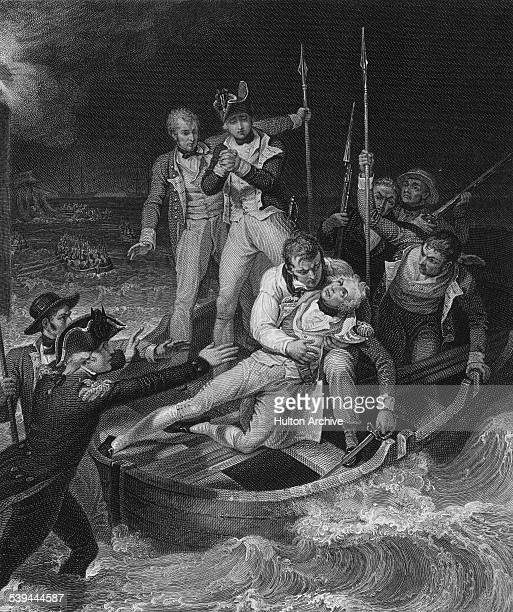 RearAdmiral Horatio Nelson is wounded in the right arm during the attack on the Castillo de San Cristobal at the Battle of Santa Cruz de Tenerife...