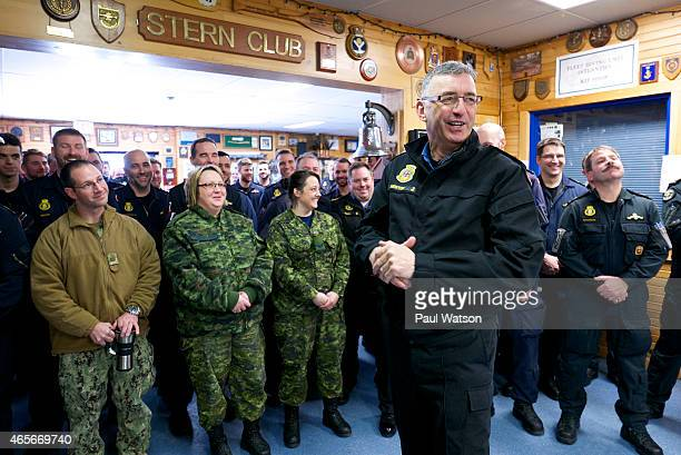 RearAdmiral John Newton rallies the troops at the Royal Canadian Navy's Atlantic fleet diving unit