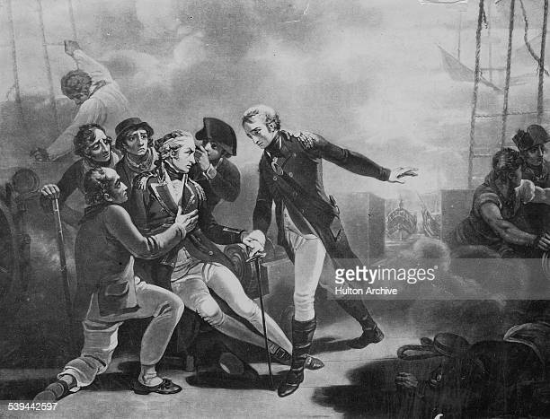 Rear-Admiral Sir Horatio Nelson receives a splinter wound on the quarterdeck of his flagship HMS Vanguard during the Battle of the Nile during the...