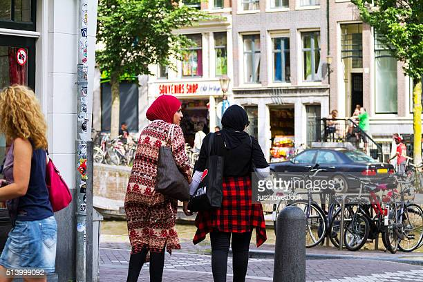 Rearshot of muslim women in Amsterdam