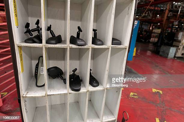 Rearview mirrors are seen during a liquidation auction at the permanently shutdown General Motors Co Pontiac Assembly plant in Pontiac Michigan US on...