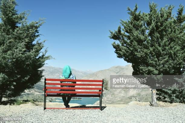 rearview of a lady looking out over the lake - tehran stock pictures, royalty-free photos & images