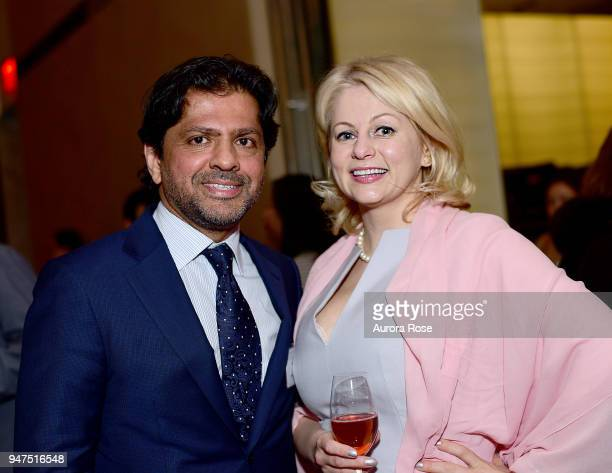 Reaz Jafri and Natalia Tchetchoulina attend Launch Of New Entity Withers Global Advisors at 432 Park Avenue on April 3 2018 in New York City Reaz...