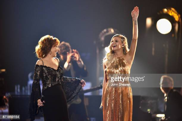Reba McEntire and Kelsea Ballerini perform onstage at the 51st annual CMA Awards at the Bridgestone Arena on November 8 2017 in Nashville Tennessee