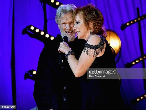 Reba McEntire and Kris Kristofferson perform at The Life Songs of Kris Kristofferson produced by Blackbird Presents at Bridgestone Arena on March 16...