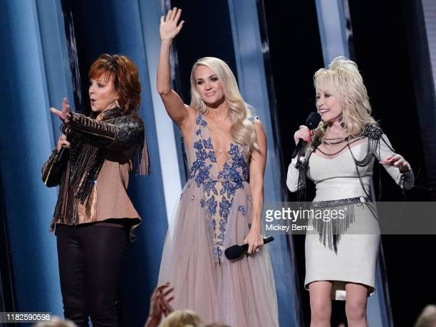 Reba McEntire Carrie Underwood and Dolly Parton attend the 53rd annual CMA Awards at the Bridgestone Arena on November 13 2019 in Nashville Tennessee