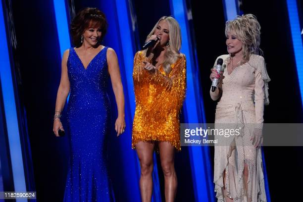 Reba McEntire Carrie Underwood and Dolly Parton perform at the 53rd annual CMA Awards at the Bridgestone Arena on November 13 2019 in Nashville...