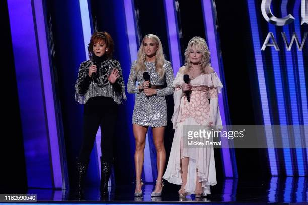 Reba McEntire Carrie Underwood and Dolly Parton perform onstage at the 53rd annual CMA Awards at the Bridgestone Arena on November 13 2019 in...