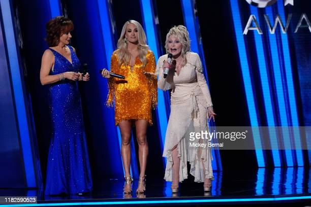 Reba McEntire Carrie Underwood and Dolly Parton perform onstage during the 53rd annual CMA Awards at the Music City Center on November 13 2019 in...