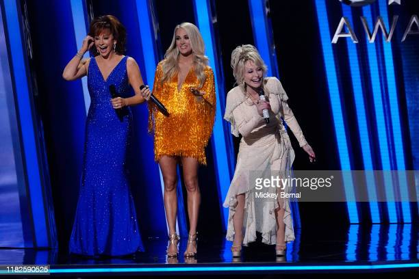 Reba McEntire Carrie Underwood and Dolly Parton the 53rd annual CMA Awards at the Bridgestone Arena on November 13 2019 in Nashville Tennessee