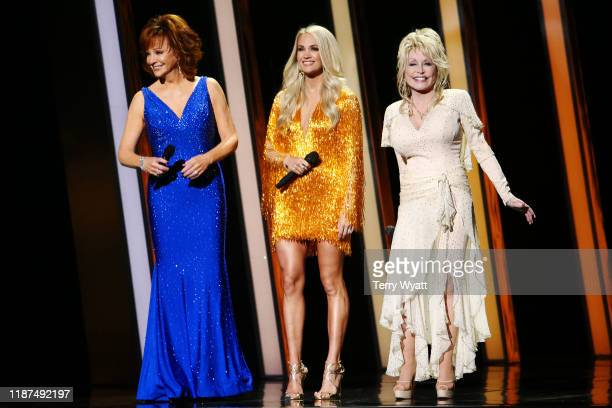 Reba McEntire Carrie Underwood Dolly Parton perform onstage during the 53rd annual CMA Awards at the Music City Center on November 13 2019 in...