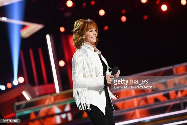 Reba McEntire speaks on stage at the 53rd Academy of Country Music Awards at MGM Grand Garden Arena on April 15 2018 in Las Vegas Nevada