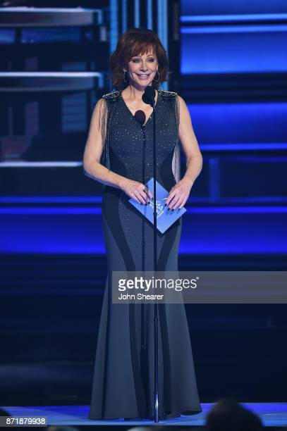 Reba McEntire speaks onstage at the 51st annual CMA Awards at the Bridgestone Arena on November 8 2017 in Nashville Tennessee