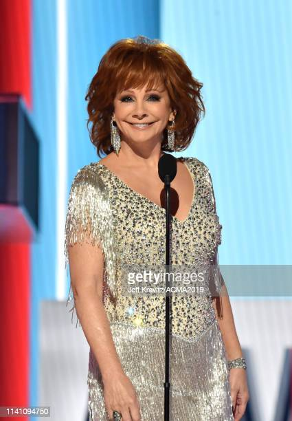 Reba McEntire speaks onstage during the 54th Academy Of Country Music Awards at MGM Grand Garden Arena on April 07 2019 in Las Vegas Nevada