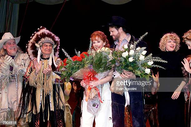 Reba McEntire takes over lead role in 'Annie Get Your Gun' on Broadway at the Marquis Theatre in New York City. Pictured: McEntire with co-stars...