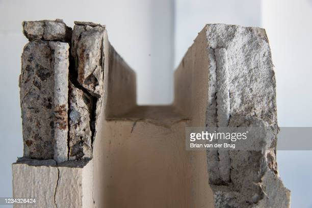Rebar is exposed in a remnant of the now demolished LACMA buildings, on Wednesday, July 28, 2021 in Pasadena, CA. Ferrer has preserved fragments of...