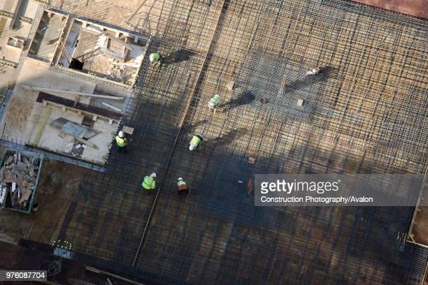 Rebar mesh set for formwork aerial view