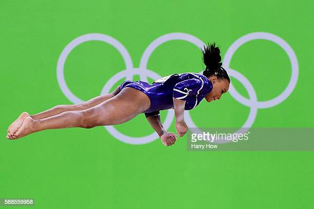 Rebeca Andrade of Brazil competes on the floor during the Women's Individual All Around Final on Day 6 of the 2016 Rio Olympics at Rio Olympic Arena...