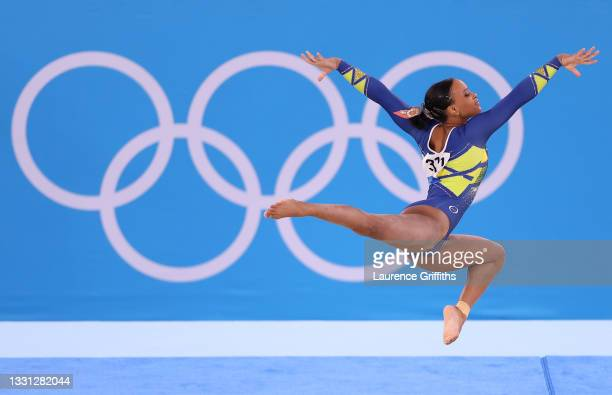 Rebeca Andrade of Team Brazil competes in the floor exercise during the Women's All-Around Final on day six of the Tokyo 2020 Olympic Games at Ariake...