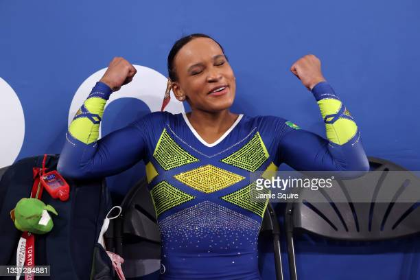Rebeca Andrade of Team Brazil reacts after competing in the floor exercise during the Women's All-Around Final on day six of the Tokyo 2020 Olympic...