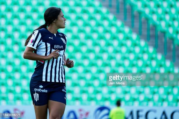 Rebeca Bernal of Monterrey looks on during a match between Santos and Monterrey as part of the Torneo Grita Mexico A21 Liga MX Femenil at Corona...