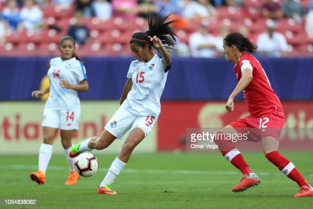 Rebeca Espinosa of Panama controls the ball during the semifinal match between Panama and Canada as part of CONCACAF Women's Championship at Toyota...