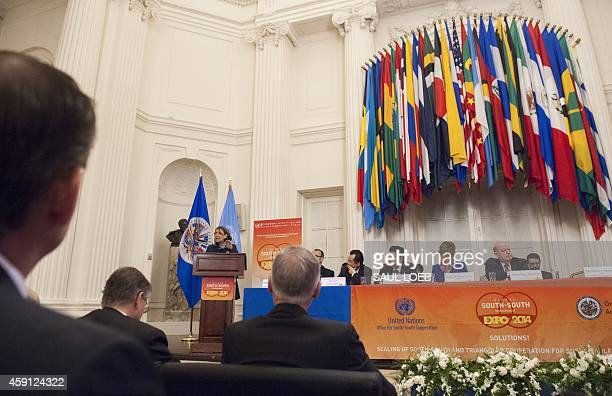 Rebeca Grynspan Secretary General of Iberoamericana General Secretariat speaks during the Highlevel Opening Ceremony of the Global SouthSouth...