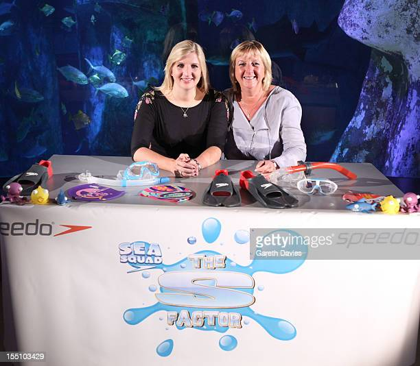 Rebecca Adlington and Kay Adlington attend a photocall to launch Speedo 'S Factor' competition at London Aquarium on November 1 2012 in London England