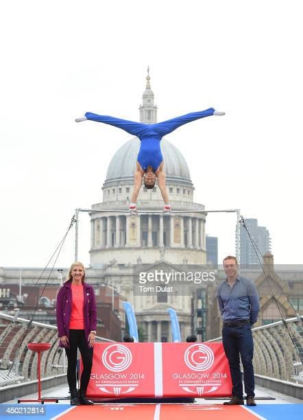 Rebecca Adlington and Sir Chris Hoy pose for photos as Olympic silver medalist Louis Smith MBE performs on a high bar during the Glasgow 2014...