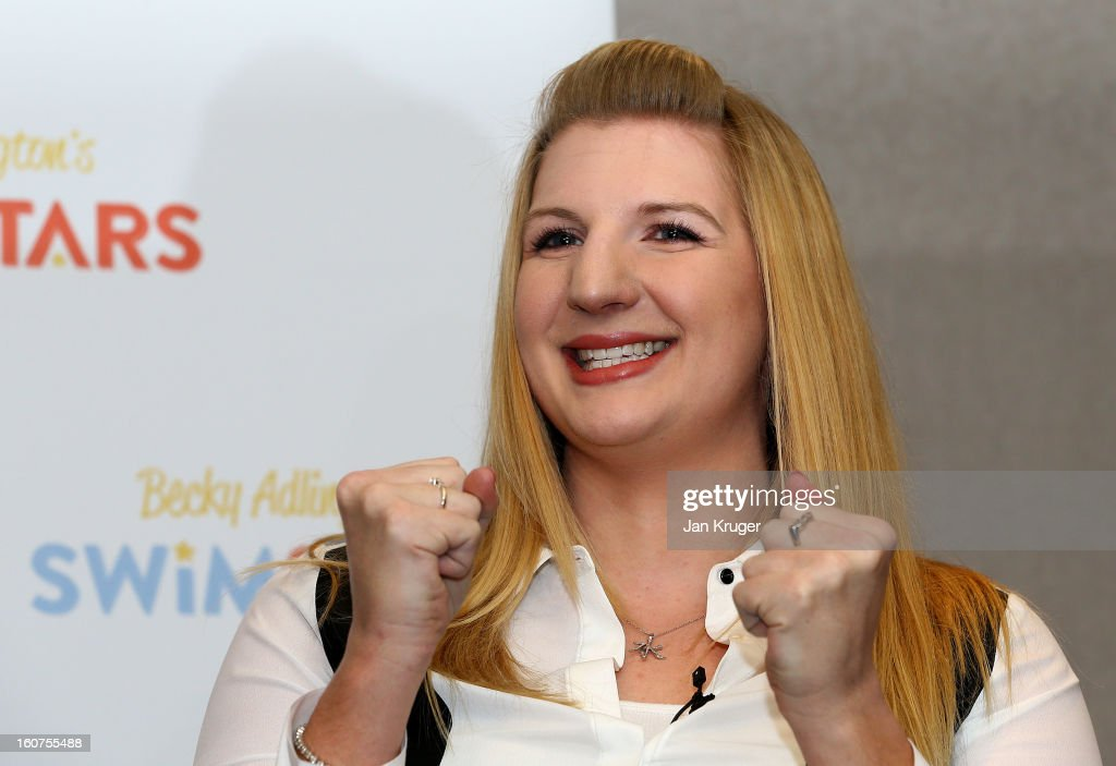 Rebecca Adlington answers questions from the media during a press conference at InterContinental London Westminster Hotel on February 5, 2013 in London, England.