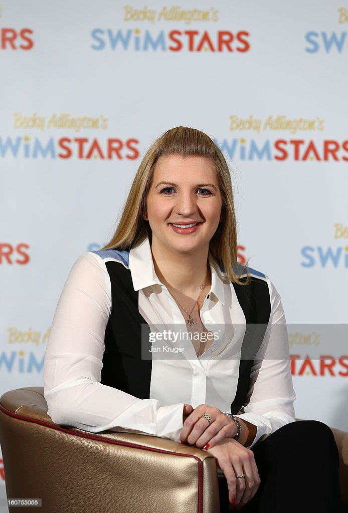 Rebecca Adlington attends a press conference to announce her retirement from competitive swimming and the launch of her charitable foundation to promote fitness in children through swimming at InterContinental London Westminster Hotel on February 5, 2013 in London, England.