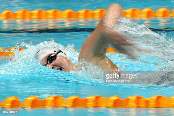 Rebecca Adlington of England competes in the Women's 800m Freestyle Final at the Dr. S.P. Mukherjee Aquatics Complex during day four of the Delhi...
