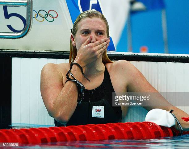 Rebecca Adlington of Great Britain celebrates finishing the Women's 400m Freestyle Final in first place and wins the gold medal held at the National...