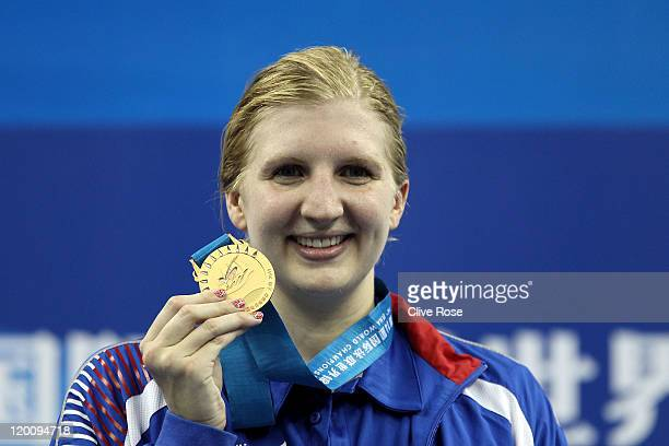 Rebecca Adlington of Great Britain celebrates winning the gold medal in the Women's 800m Freestyle Final during Day Fifteen of the 14th FINA World...