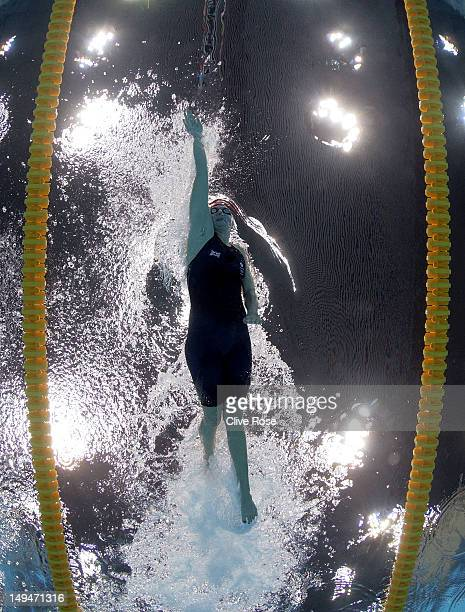 Rebecca Adlington of Great Britain competes in the Women's 400m Freestyle heat 3 on Day 2 of the London 2012 Olympic Games at the Aquatics Centre on...