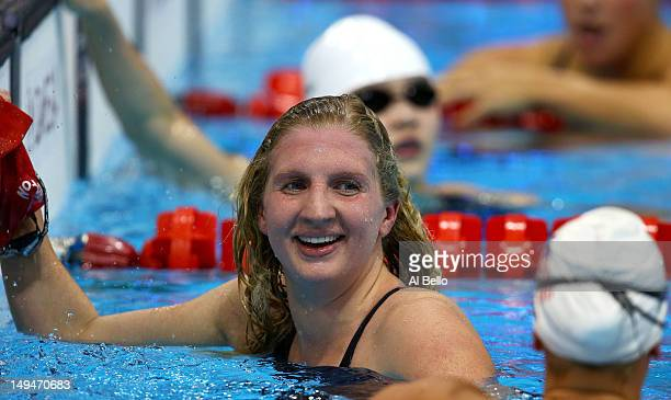 Rebecca Adlington of Great Britain looks on after competing in the Women's 400m Freestyle heat 3 on Day 2 of the London 2012 Olympic Games at the...