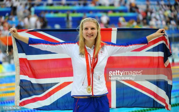 Rebecca Adlington of Great Britain poses after the women's 800m freestyle final medal ceremony at the National Aquatics Center during the 2008...