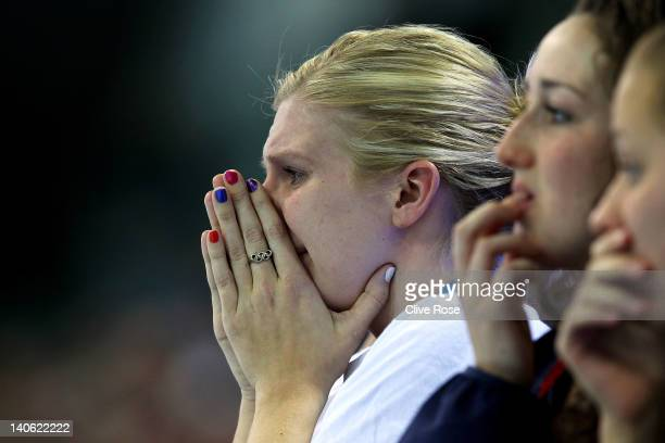 Rebecca Adlington of Great Britain reacts during day one of the British Gas Swimming Championships at the London Aquatics Centre on March 3 2012 in...